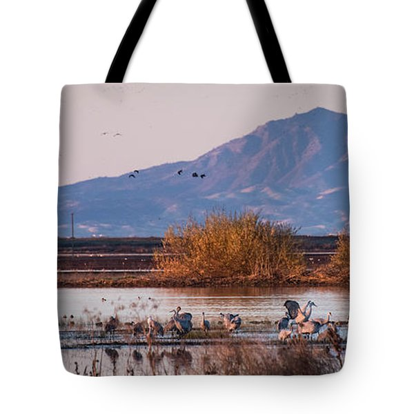 Cranes In The Morning Tote Bag