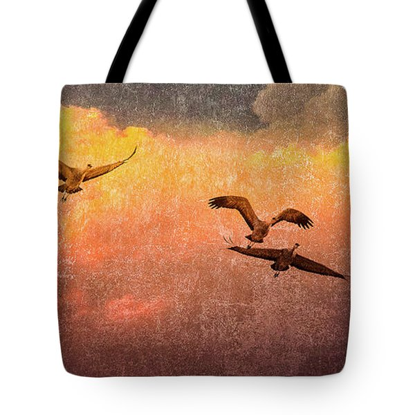 Cranes Lifting Into The Sky Tote Bag