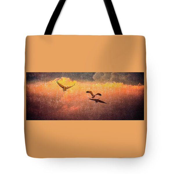 Cranes Lifting Into The Sky Tote Bag