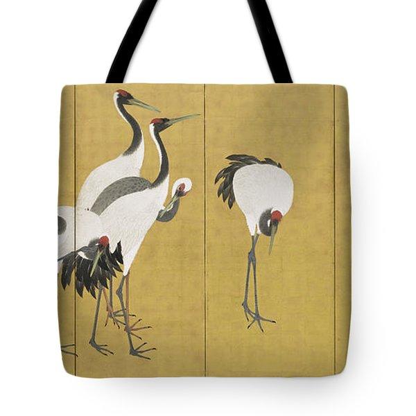 Cranes Tote Bag by Maruyama Okyo