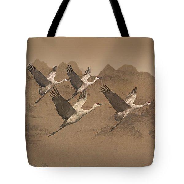 Cranes Migrating Over Mongolia Tote Bag