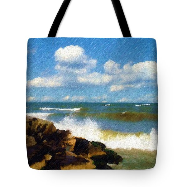 Crashing Into Shore Tote Bag