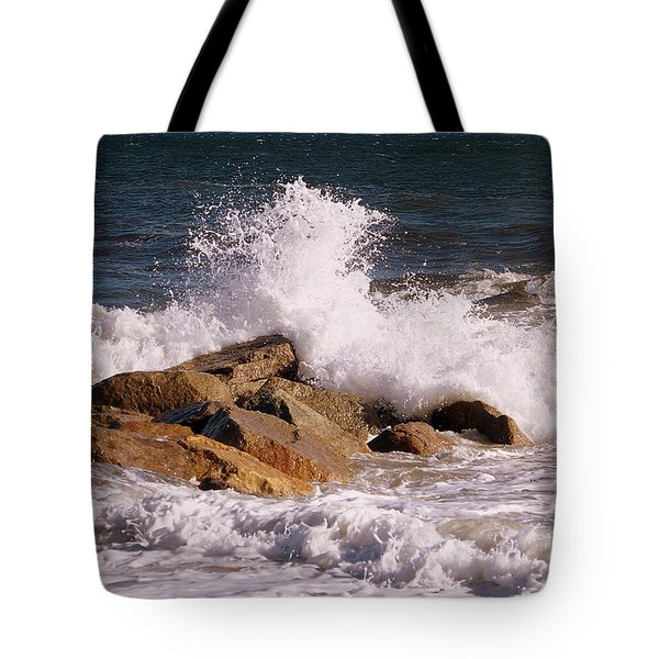 Crashing Surf On Plum Island Tote Bag by Eunice Miller