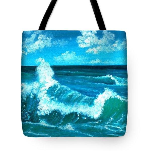 Tote Bag featuring the painting Crashing Wave by Anastasiya Malakhova
