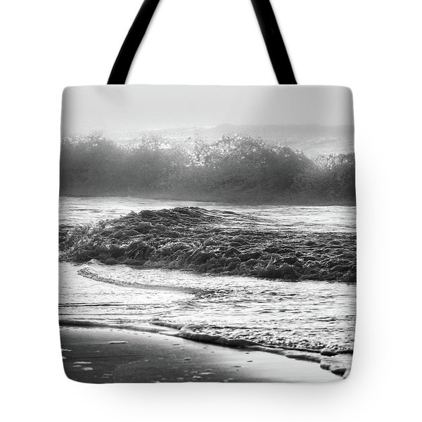 Tote Bag featuring the photograph Crashing Wave At Beach Black And White  by John McGraw