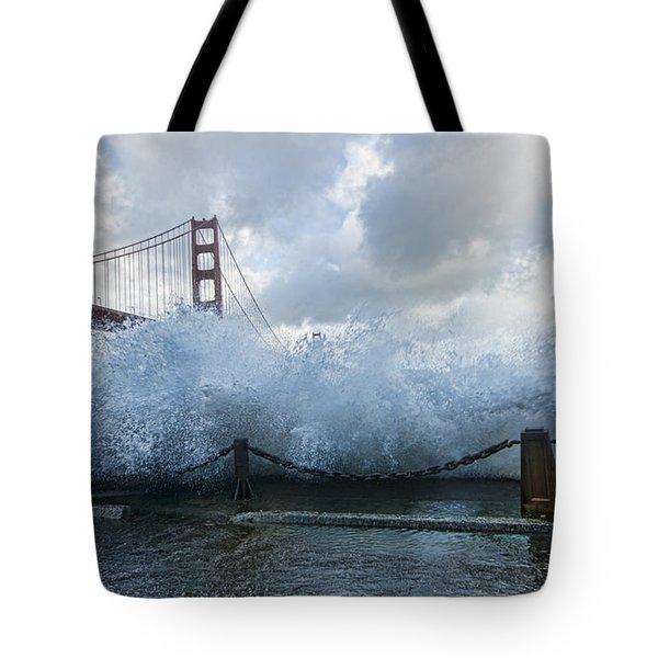 Tote Bag featuring the photograph Crashing Wave Golden Gate Bridge King Tide by Steve Siri