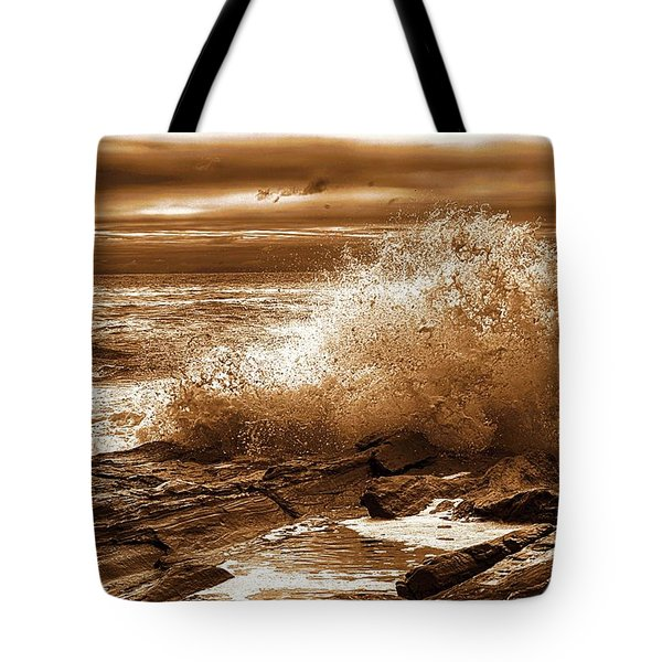 Crashing Wave Hdr Golden Glow Tote Bag by Sherman Perry