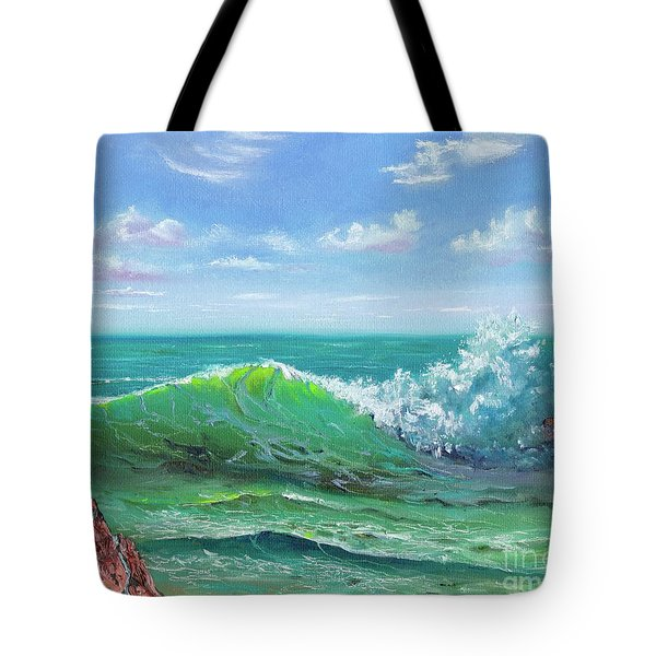 Tote Bag featuring the painting Crashing Wave by Mary Scott