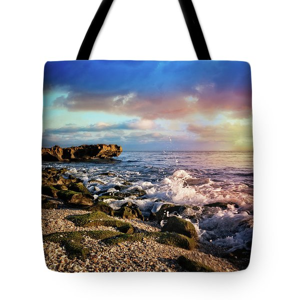 Tote Bag featuring the photograph Crashing Waves At Low Tide by Debra and Dave Vanderlaan