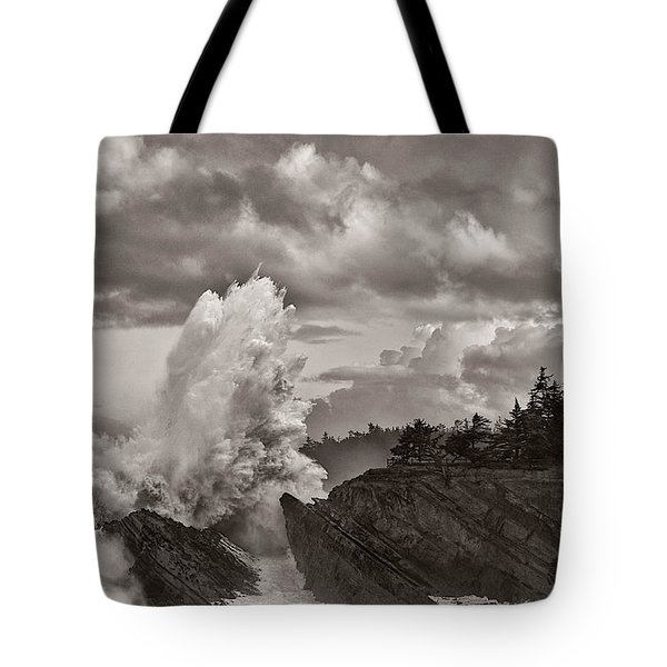 Crashing Waves At Shore Acres Tote Bag