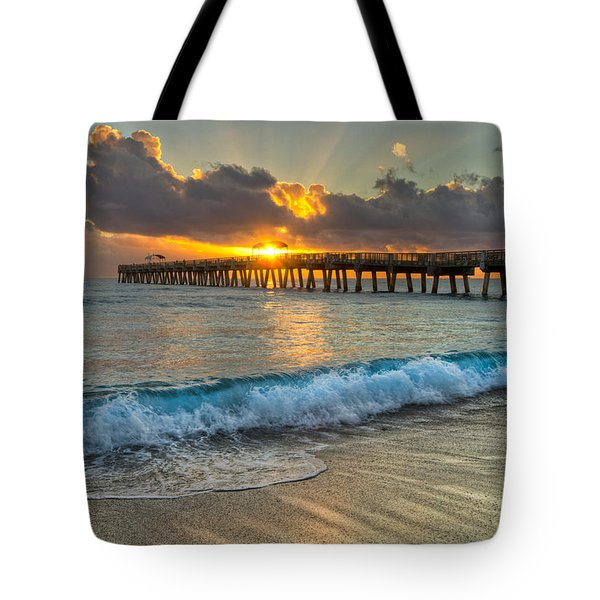 Crashing Waves At Sunrise Tote Bag by Debra and Dave Vanderlaan