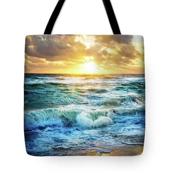 Tote Bag featuring the photograph Crashing Waves Into Shore by Debra and Dave Vanderlaan