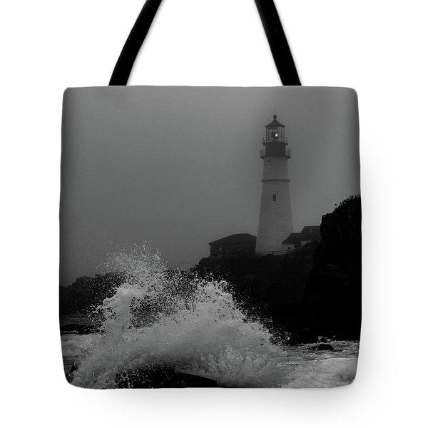 Crashing Waves On A Foggy Morning Tote Bag