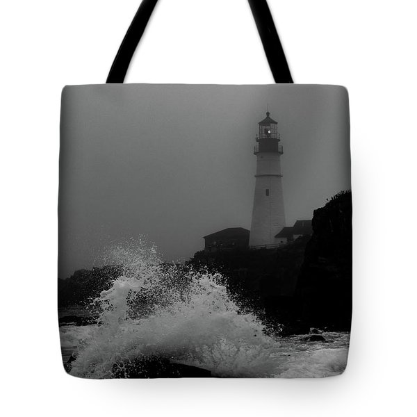 Tote Bag featuring the photograph Crashing Waves On A Foggy Morning by Darryl Hendricks