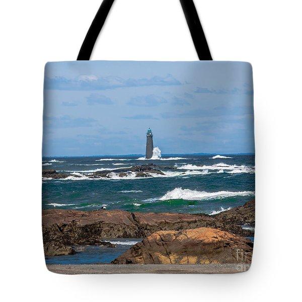 Crashing Waves On Minot Lighthouse  Tote Bag