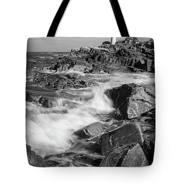 Tote Bag featuring the photograph Crashing Waves, Portland Head Light, Cape Elizabeth, Maine  -5605 by John Bald