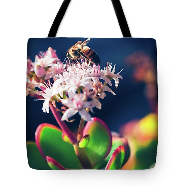 Tote Bag featuring the photograph Crassula Ovata Flowers And Honey Bee by Sharon Mau