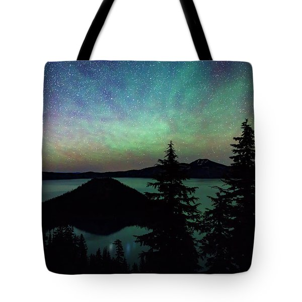 Tote Bag featuring the photograph Crater Lake Airglow by Cat Connor