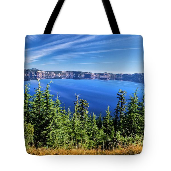 Tote Bag featuring the photograph Crater Lake Rim Reflections by Frank Wilson