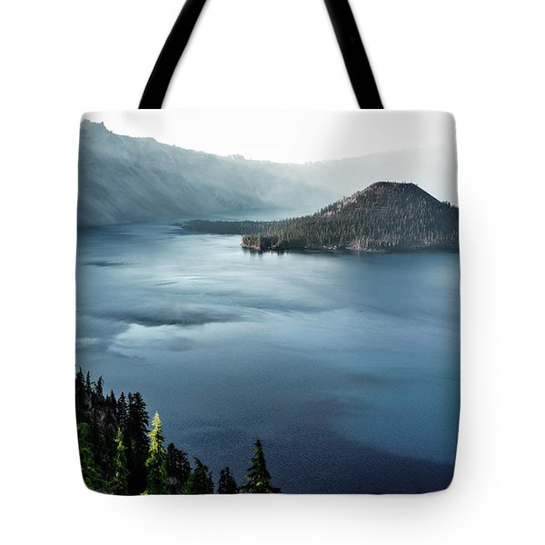 Crater Lake Under A Siege Tote Bag by Eduard Moldoveanu
