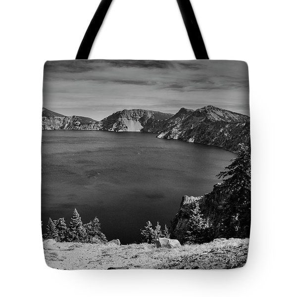 Tote Bag featuring the photograph Crater Lake View In Bw by Frank Wilson