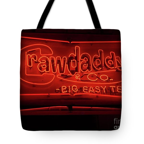 Tote Bag featuring the photograph Craw Daddy Neon Sign by Steven Spak