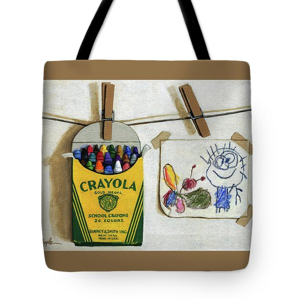 Tote Bag featuring the painting Crayola Crayons And Drawing Realistic Still Life Painting by Linda Apple