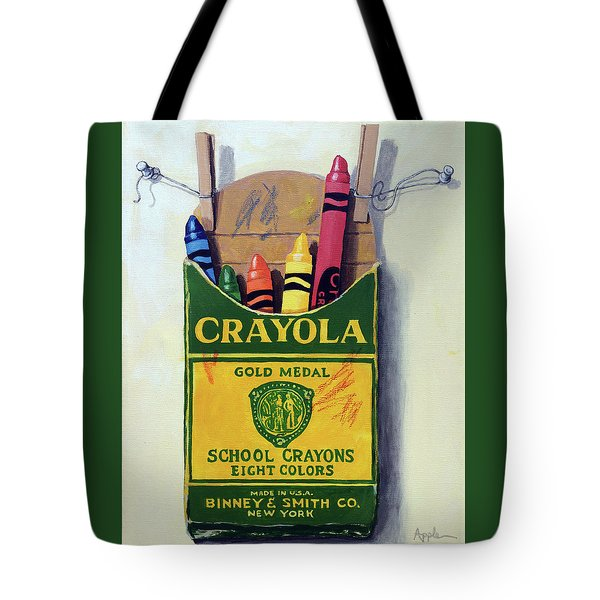 Tote Bag featuring the painting Crayola Crayons Painting by Linda Apple