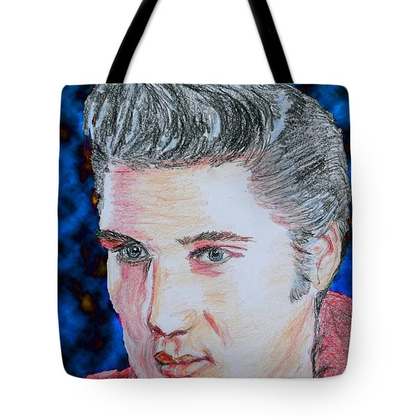 Tote Bag featuring the drawing Crayon Elvis by Lyric Lucas