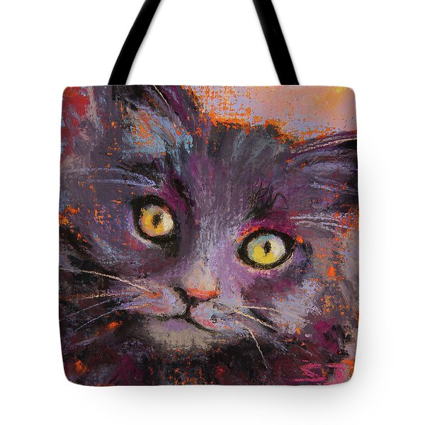 Crazy Cat Black Kitty Tote Bag