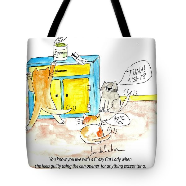 Tote Bag featuring the painting Crazy Cat Lade 0008 by Lou Belcher