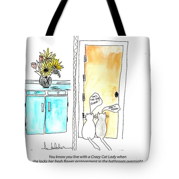 Tote Bag featuring the painting Crazy Cat Lady 0002 by Lou Belcher