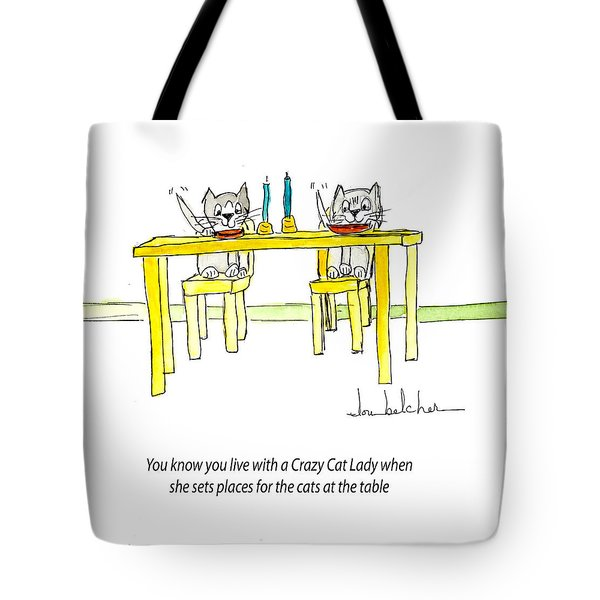 Tote Bag featuring the painting Crazy Cat Lady 0007 by Lou Belcher