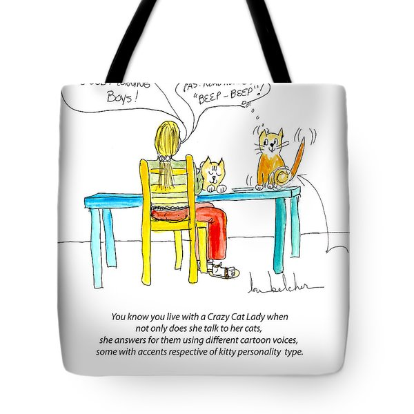 Tote Bag featuring the painting Crazy Cat Lady 0009 by Lou Belcher