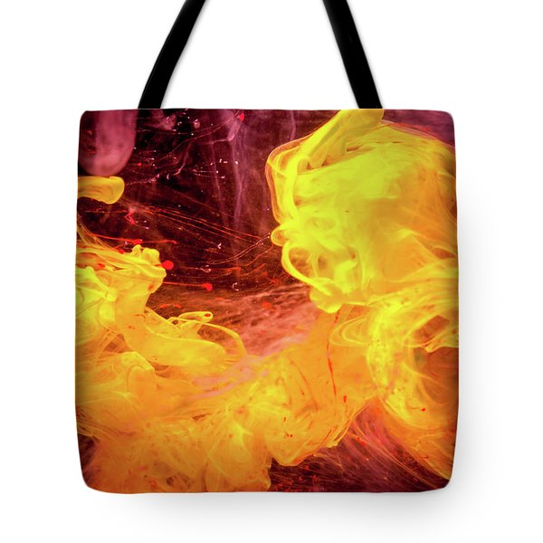 Crazy Chase - Purple And Yellow Abstract Photography Tote Bag by Modern Art Prints