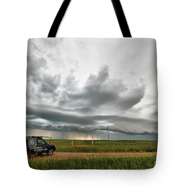 Crazy Shelf Cloud Near Ponteix Sk. Tote Bag by Ryan Crouse
