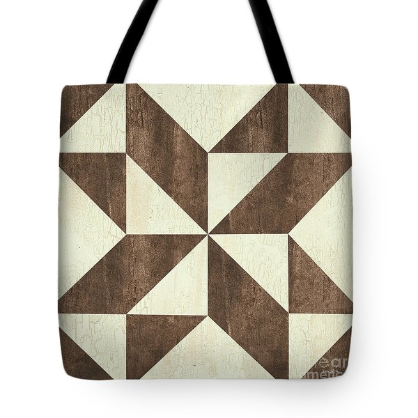 Cream And Brown Quilt Tote Bag