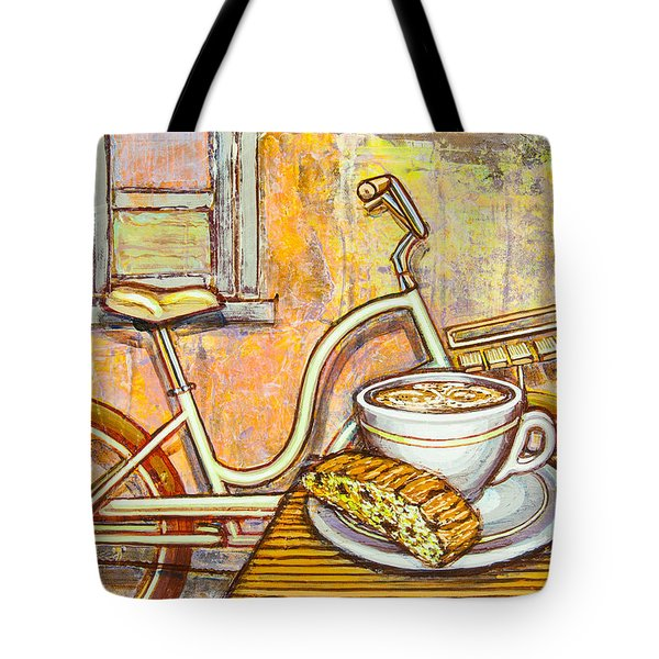 Cream Electra Town Bicycle With Cappuccino And Biscotti Tote Bag