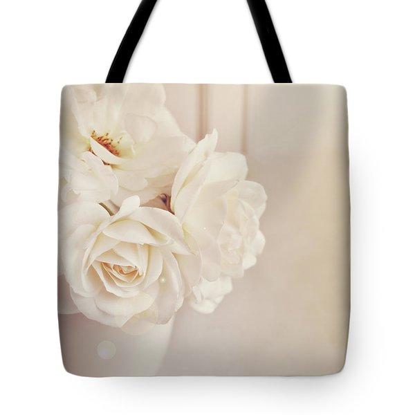 Cream Roses In Vase Tote Bag