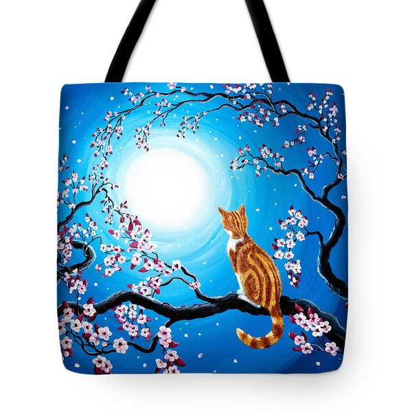 Creamsicle Kitten In Blue Moonlight Tote Bag
