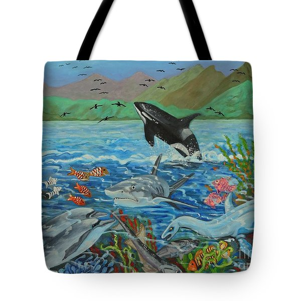 Creation Fifth Day Sea Creatures And Birds Tote Bag by Caroline Street