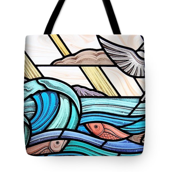 Creation Of The Sea And Sky Tote Bag by Gilroy Stained Glass