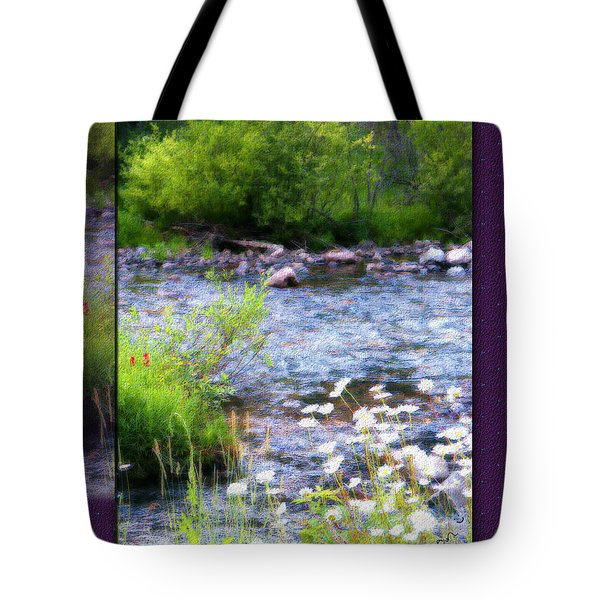 Tote Bag featuring the photograph Creek Daisys by Susan Kinney