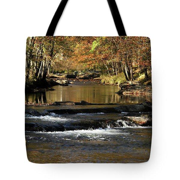 Creek Water Flowing Through Woods In Autumn Tote Bag