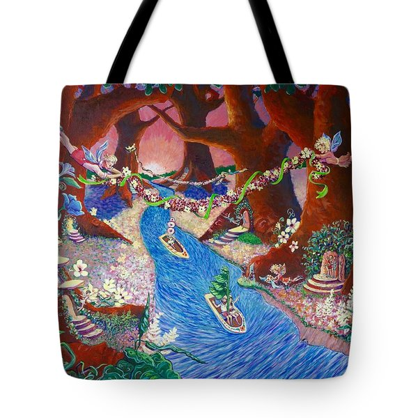 Tote Bag featuring the painting Creekside Fairy Celebration by Jeanette Jarmon