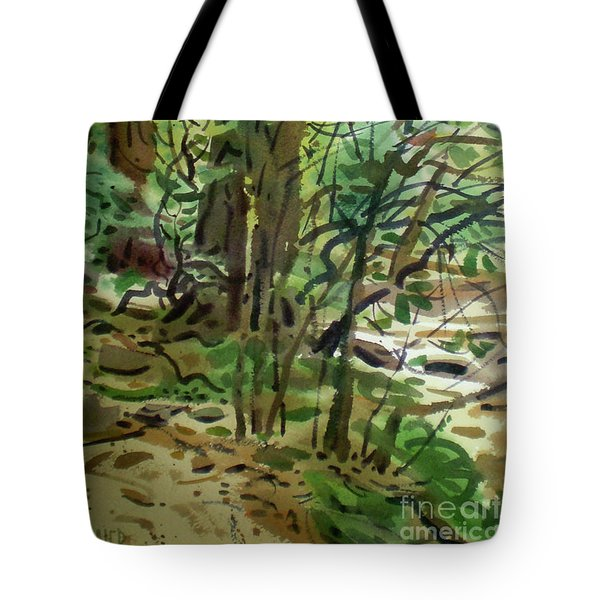 Tote Bag featuring the painting Creekside II by Donald Maier