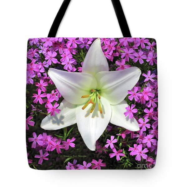 Tote Bag featuring the photograph Creeping Fuchsia Phlox With Lily by Nancy Lee Moran