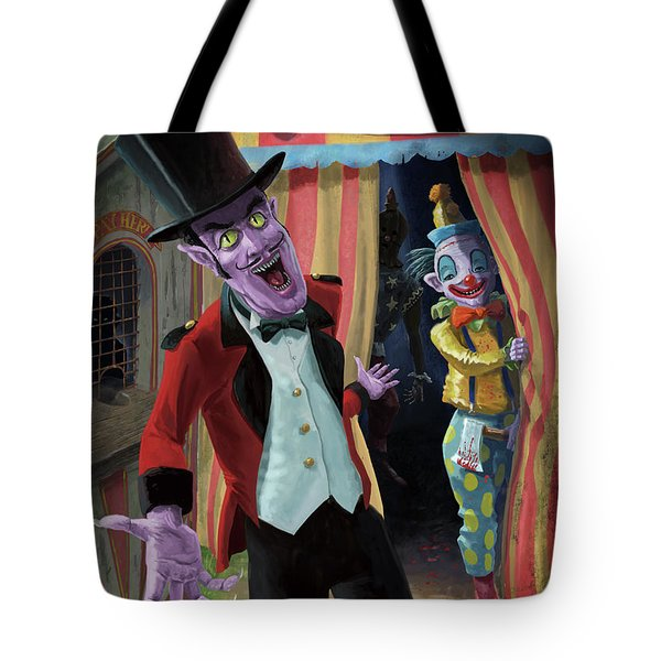Tote Bag featuring the painting Creepy Circus by Martin Davey