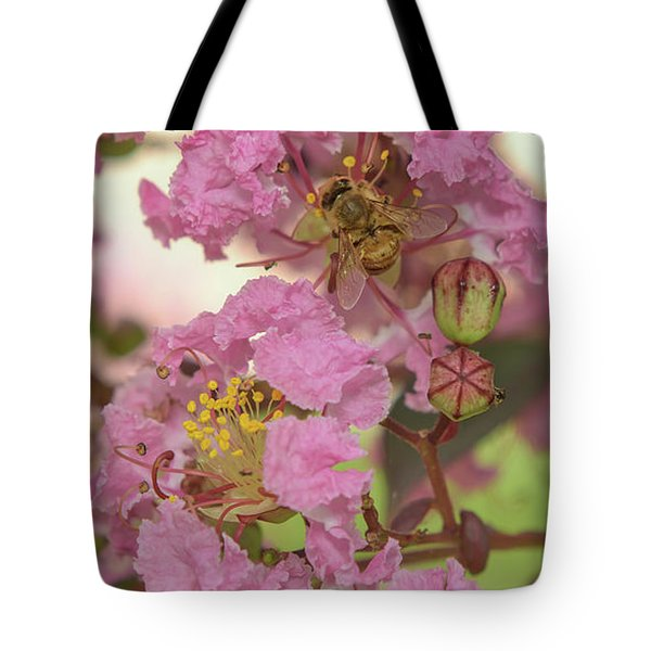 Crepe Myrtle And Bee Tote Bag