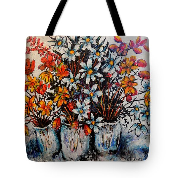 Tote Bag featuring the painting Crescendo Of Flowers by Jeremy Holton